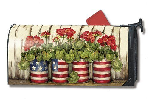 """Glory Garden Patriotic Mailbox Cover by MagnetWorks. $15.95. Mailwraps Mailbox Covers fit standard metal mailbox 6.5"""" wide and 19"""" long.. Snaps into place with 2 strong magnetic strips.. Decorative mailbox covers include 3 sets of self-adhesive numbers.. Vinyl coated and screen printed for long lasting beauty.. GLORY GARDEN MailWraps® Magnetic Mailbox Cover MailWraps® mailbox covers attach securely with a strong magnetic strip along each side of the cover. This featur..."""