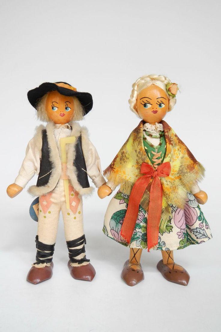 Poland Gromada 2 Dolls Janosik and Gorale tags 19 cm