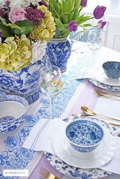 an easter tablescape with blue and white and lavender easter table rh pinterest com