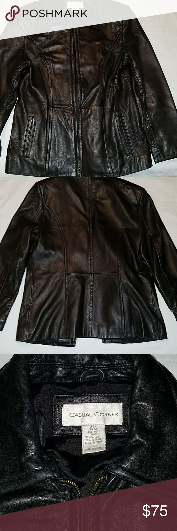 Ladies Leather jacket Ladies small leather jacket. Lined with 50%nylon and 50% Acetate. Fits size 2-4 Jackets & Coats Blazers