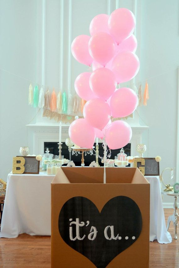 it's a... gender reveal balloon box sign heart printable file chalkboard  by Lindstackett on Etsy