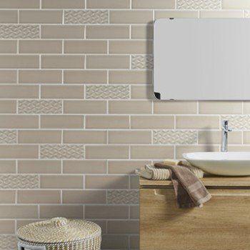Faïence mur beige, décor vintage l.10 x L.30 cm | Leroy Merlin
