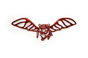 Richard Texier Sculpture Angel Bear Trophy with red finishing - modern and contemporary art