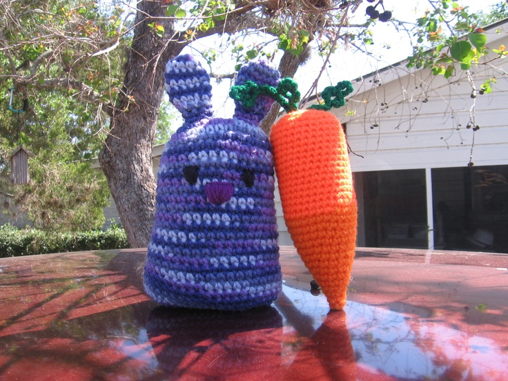 "My camo bunny with his ""trophy"" carrot....another CAL project for Ravelry."