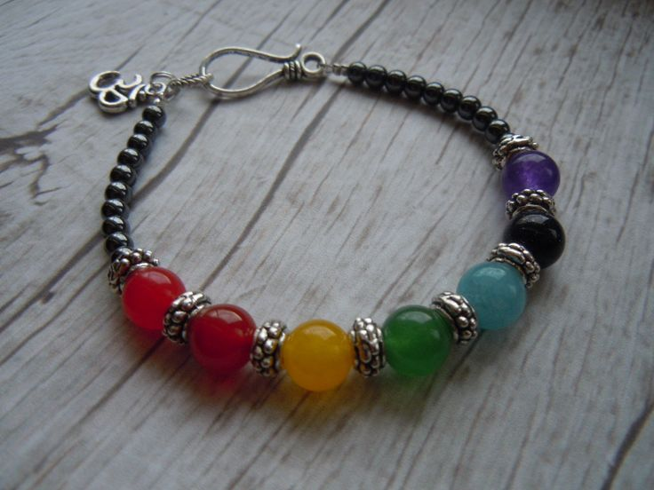 Chakra Balancing Bracelet In The Seven Chakra Gemstones With Om Charm - Yoga Jewelry