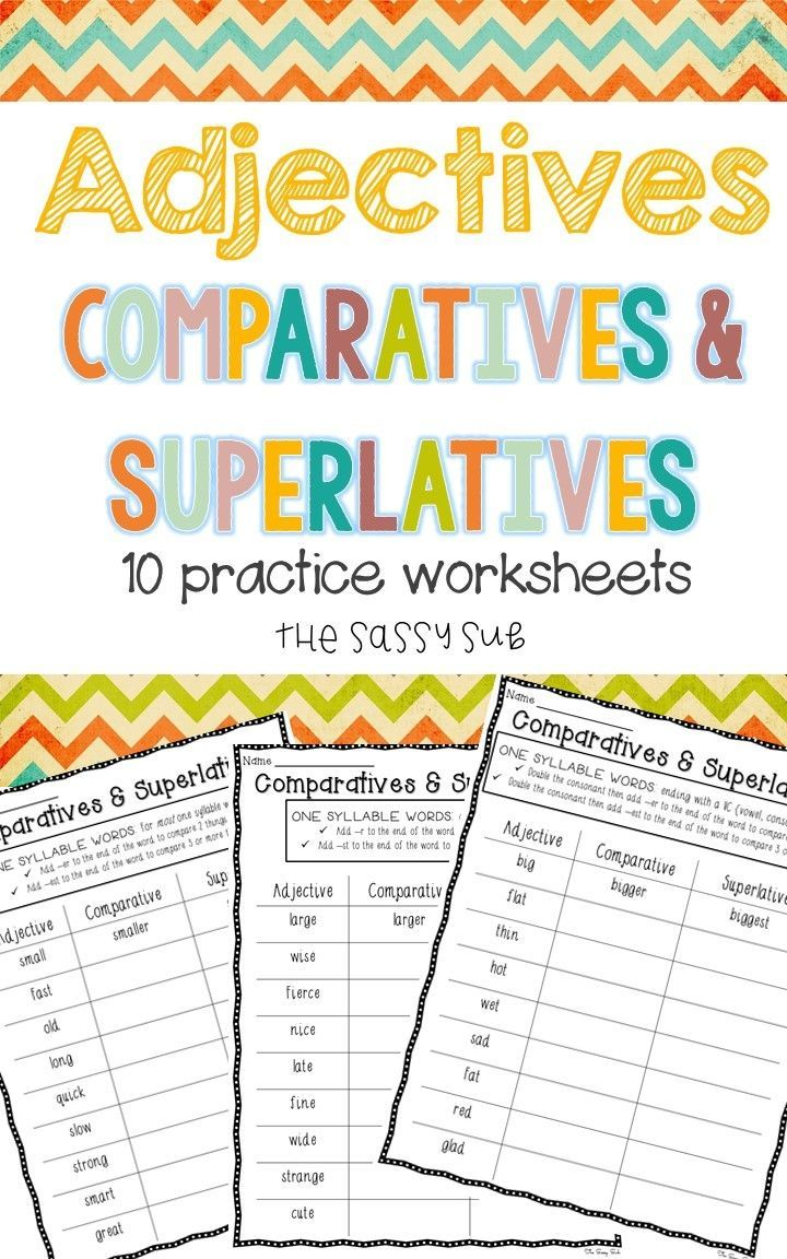 Comparatives and Superlative adjective worksheets add -er and -est rules  for changing base words and adding e…   Superlative adjectives [ 1152 x 720 Pixel ]
