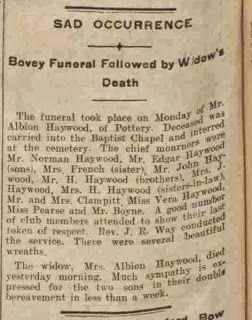 Sunday's Obituary: Albion and Elizabeth Charlotte HAYWOOD 1913 #geneabloggers #genealogy