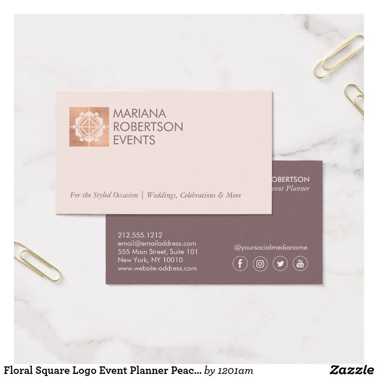 44 best business cards for event planners and wedding planners floral square logo event planner peachrose gold business card colourmoves