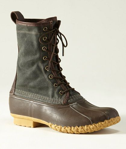 I'm a proud owner of the LL Bean Waxed Canvas Maine Hunting Shoe.  The most excellent hunting/rain boot around.