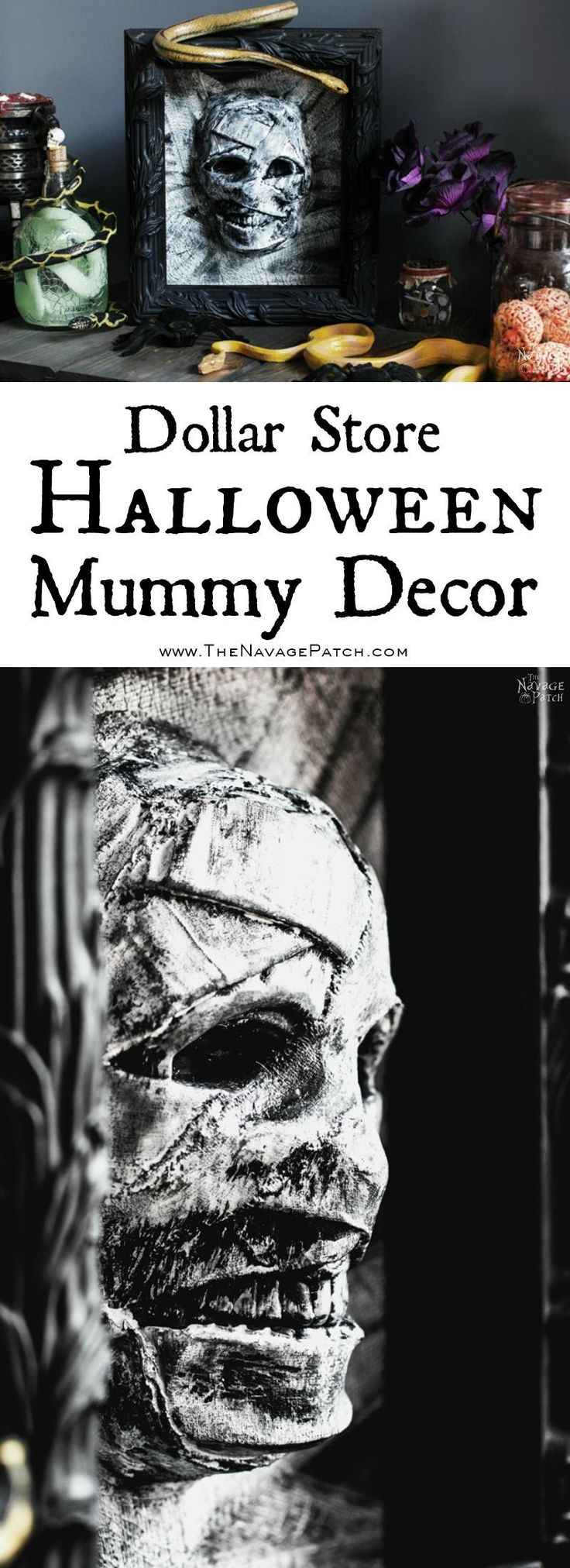 Dollar Store Halloween Mummy Decor | DIY Halloween decor | Dollar store crafts | Gothic decor for Halloween | Easy & budget crafts | DIY Halloween prop | Spooky and gothic decor | Upcycled Halloween decor | TheNavagePatch.com