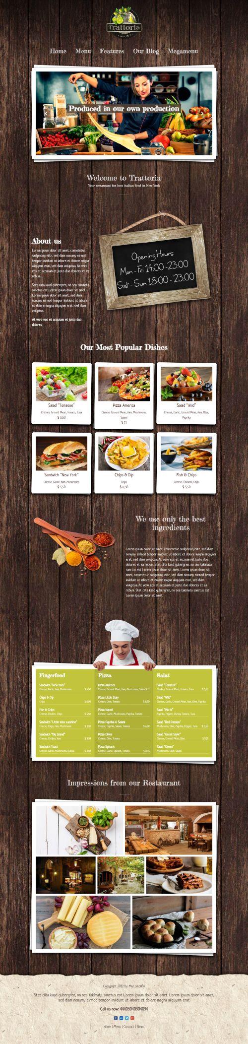 Trattoria - rustic WordPress Restaurant Theme. Trattoria is a very unique and beatiful designed WordPress Restaurant theme.   http://7theme.net/downloads/trattoria-wordpress-restaurant-theme/  #WP #WordPress #Theme #Webdesign #Restaurant #unique #rustic