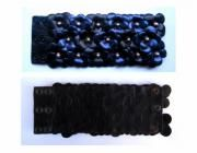 Bracciale in pelle con fiori blu e neri - artesanum com