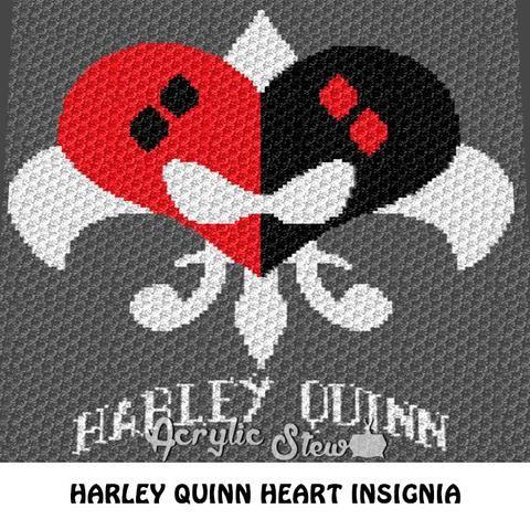 Harley Quinn DC Comics Villain Logo crochet blanket pattern; graphgan pattern, c2c, cross stitch graph; pdf download; instant download