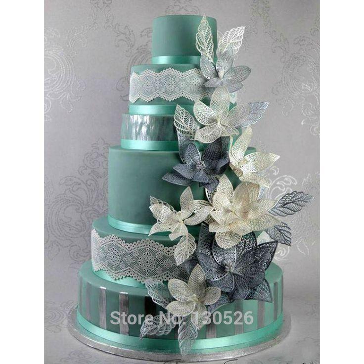 Grote Maat 44*30*0.3 cm Bruiloft Fondant Siliconen Kant Schimmel Taart Kant Mat Fantasy Bloemblaadje en bladeren Cake Decoratie Mold