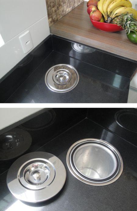 Discreta, funcional e muito prática, a lixeira de embutir na bancada é perfeita para uma cozinha organizada. | Clique Arquitetura | Seu portal de Ideias e Soluções