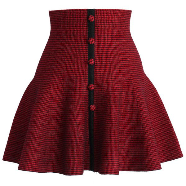 Chicwish Buttons Up Knitted Skater Skirt in Red ($38) ❤ liked on Polyvore featuring skirts, bottoms, red, print skater skirt, flared skirt, circle skirt, red skater skirt and button up skirt