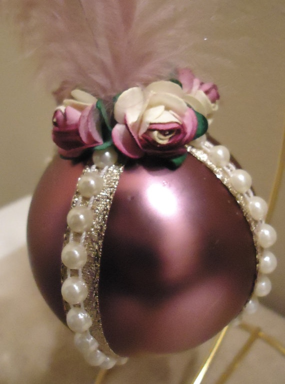 Victorian Christmas Ornament with Pearls by DashofDivaOrnaments, $18.00