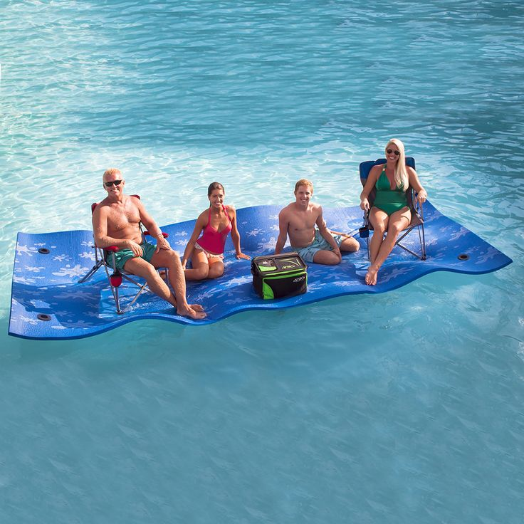 This water pad float is perfect for any party or pool. The pad measures in at 15 feet long, enough room to hold four to six adults and can be easily rolled for storage when not in use.