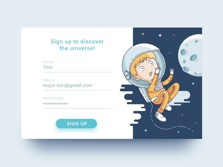 Creative Sign up form - Design Inspiration(via Discover the Universe by Lucija Frljak)