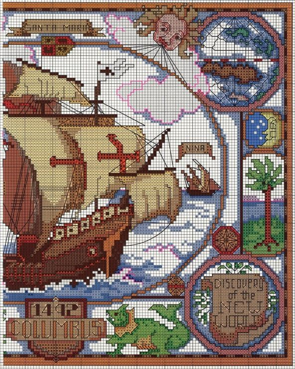 Cross-stitch The New World, part 2.. color chart on part 1