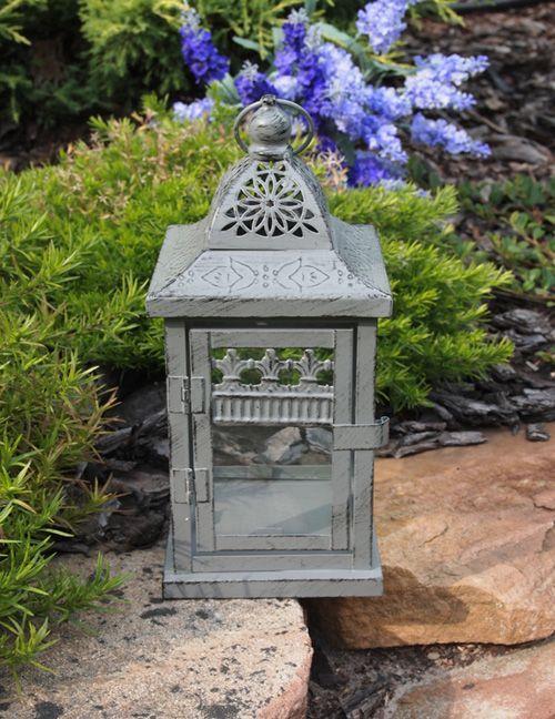 Stylizowany, ażurowy lampion na jedną świecę / Moody Lanterns in the Garden Provencal Style