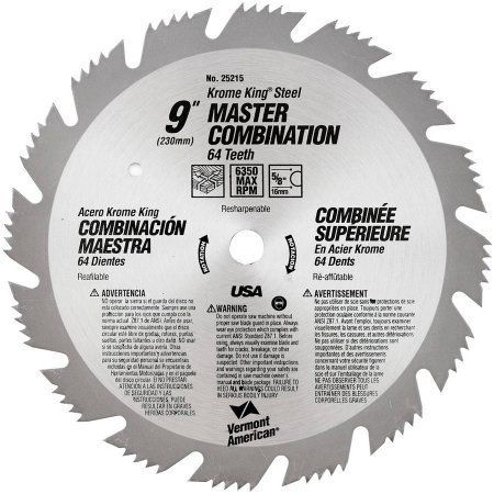 Vermont American 25215 9 inch 64T Krome King Master Combination Circular Saw Blade, Multicolor