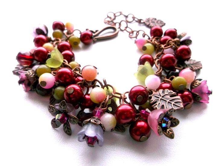 Dark red flower bracelet