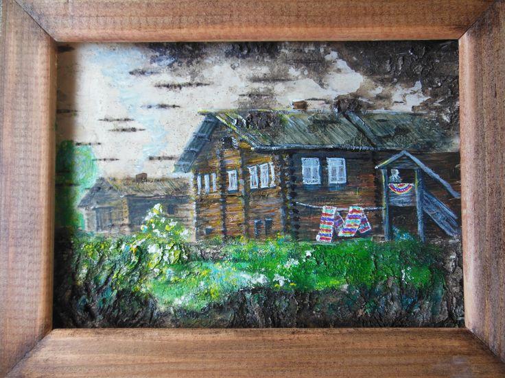картина на бересте Старый дом