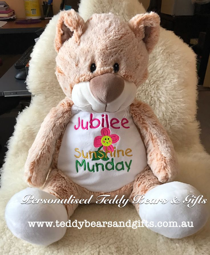 Cute, cuddly and ready for any design you wish to put on his big belly.Personalised Clara Cat from the Embroider Buddy Range with a Personalised message http://teddybearsandgifts.com.au/personalised-message-bear-cat-claire-embroider-buddy/
