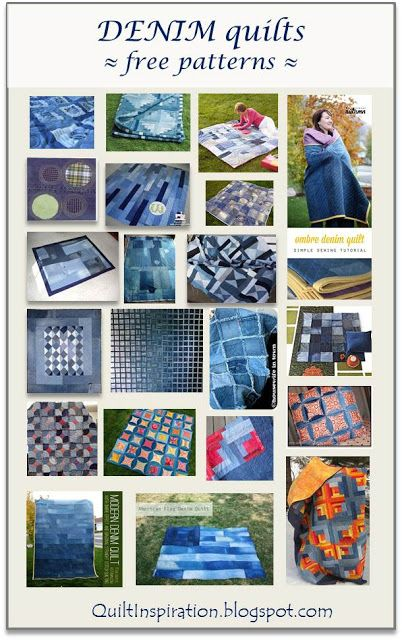 Free pattern day !  Denim and blue jean quilts.  January 2016 at Quilt Inspiration.