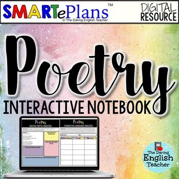 Teach your students about poetry, poetic devices, analyzing poetry, famous poets, and more with this SMARTePlans Digital Poetry Interactive Notebook made especially for the digital classroom.SMARTePlans are digital, Google-based, interactive lessons for the technology-driven classroom.Use SMARTePlans with:-Chromebooks- Laptops- Desktops- Tablets- Smartphones This digital interactive poetry notebook includes teacher instructions (GoogleDrive and Microsoft OneDrive) and a link to 39 slides of…