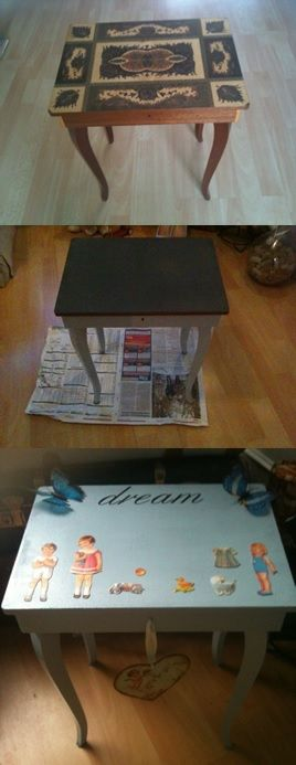 restyled little table with musicbox