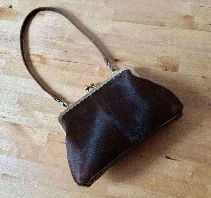 Brown cowhide clutch with strap, Small leather bag,Key holder, mini bag Handmade #VitalTemptation #ClutchEveningBag