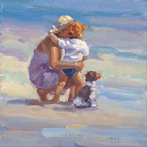 Mother Child son Ocean Beach Canvas Giclee Lucelle by AllThatArt, $72.00