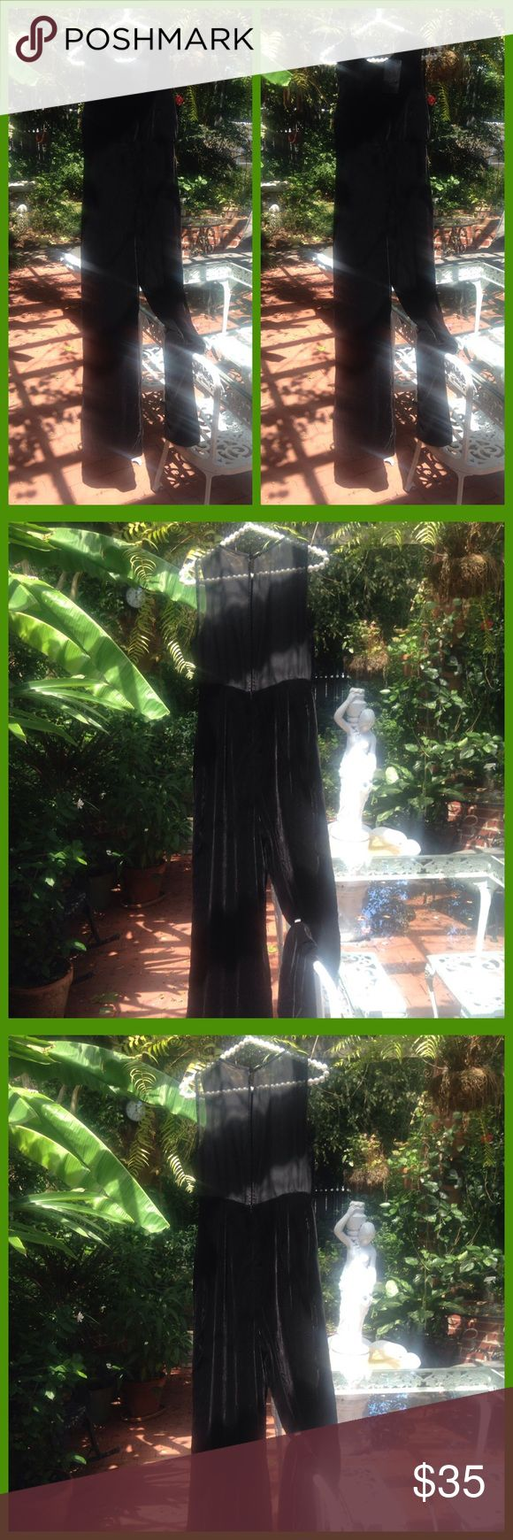 """""""Soft Velvet As The Night"""" NWT JUMPSUIT! Gorgeous Zara Basic jumpsuit in 100% polyester that has the nap and feel of velvet. The back of the top is black chiffon style polyester. This is truly a dress up classy way to wow 'em! Zips up the back. Shoulder to hem is 60 inches, bust is 30 inches, inseam is 31 inches, leg opening is 11 inches lying flat. The price indicated on the tag is in euros but I converted it to US dollars. Note this is Zara Basic. Zara Pants Jumpsuits & Rompers"""