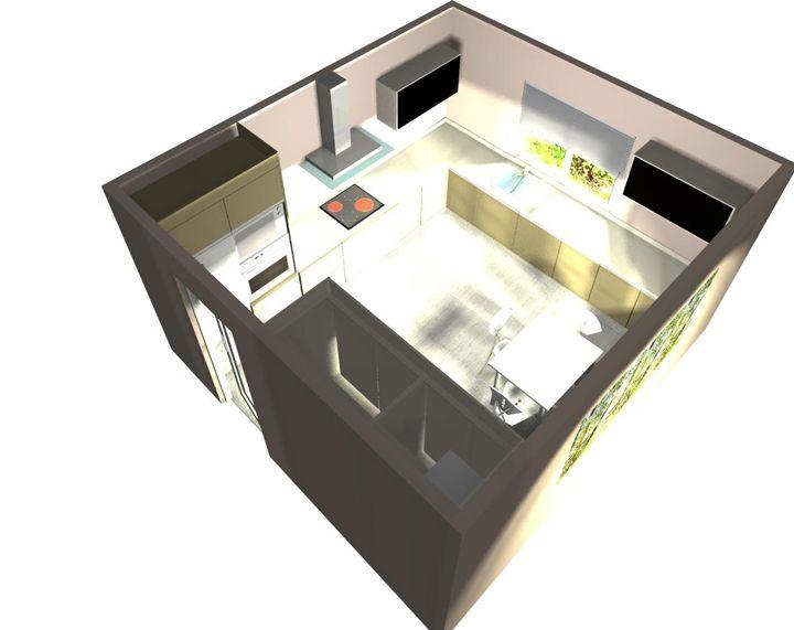 #Reforma de cocina en El Rebolledo. (CROQUIS). Propuesta 3D