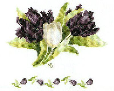 Black and White Tulips Cross Stitch Kit By Marjolein Bastin for Lanarte