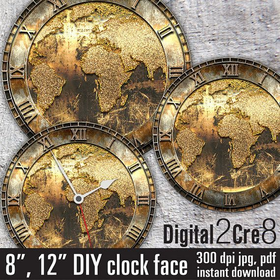 World map golden antique style large clock face for making wall clock.  Digital images for you to download, print as many times as you want, and use for your crafting proje... #scrapbooking #clipart #clockface #printable #wallclock