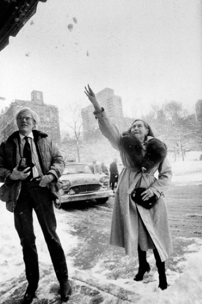 Andy Warhol and Paulette Goddard Playing in the snow (1980's)
