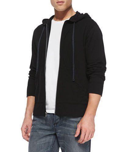 James+Perse+Cotton+Knit+Zip+Hoodie+Black+|+Top,+Sweatshirt+and+Clothing