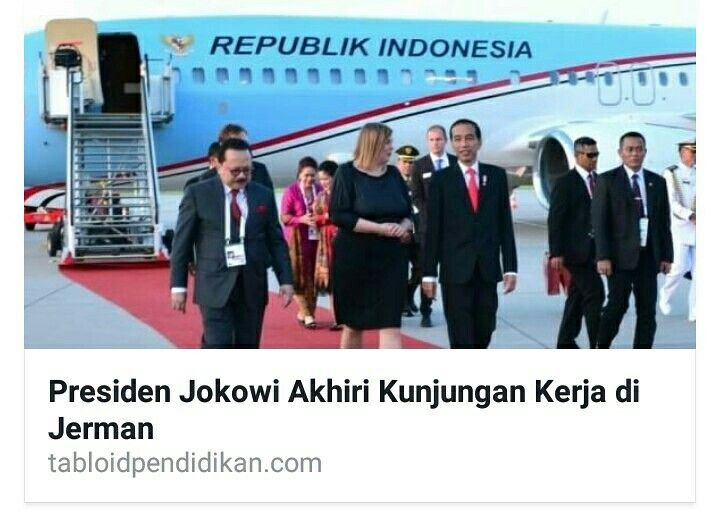 Presiden Joko Widodo mengakhiri kunjungan kerja di Jerman setelah menghadiri KTT G20 yang telah ditutup oleh Kanselir Jerman Angela Merkel pada Sabtu (8/7).  Silahkan baca beritanya di : http://www.tabloidpendidikan.com/hukum-dan-politik/presiden-jokowi-akhiri-kunjungan-kerja-di-jerman