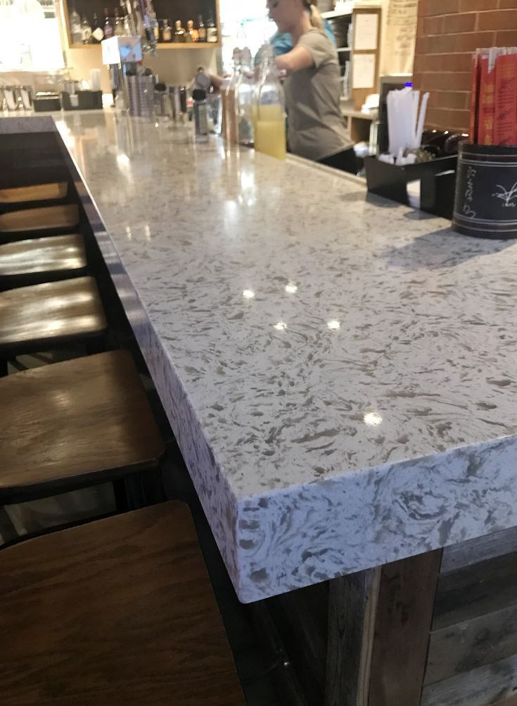 "ColorQuartz Siberian White quartz bar top. 3"" mitered ..."