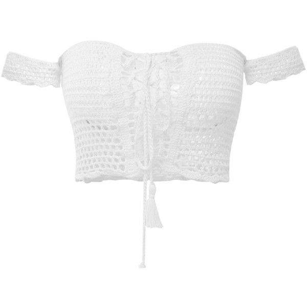 Creabygirls Womens Cute Off The Shoulder Crochet Lace Up Crop Top (£12) ❤ liked on Polyvore featuring tops, crop top, white crop top, white cami top, cropped camis, white top and camisole tops