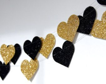 Heart Glitter Paper Garland, Gold and Noir, Gold and Black, Bridal Shower, Party Decorations, Birthday Decor