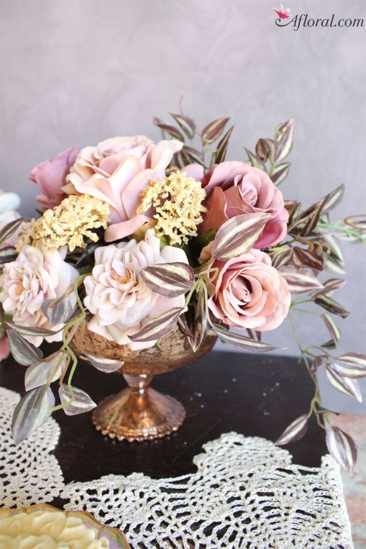 make your own wedding flower centerpieces%0A Vintage faux flower wedding centerpiece