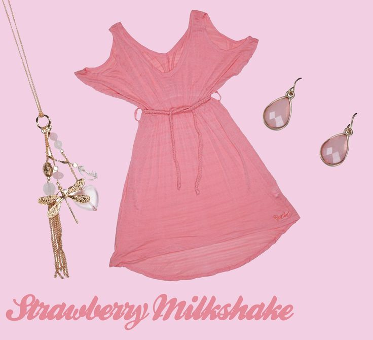 Rip Curl Pink Dress, Edgars Pink Tear Drop Earings & Gold Dragonfly Necklace (all available @ Edgars)