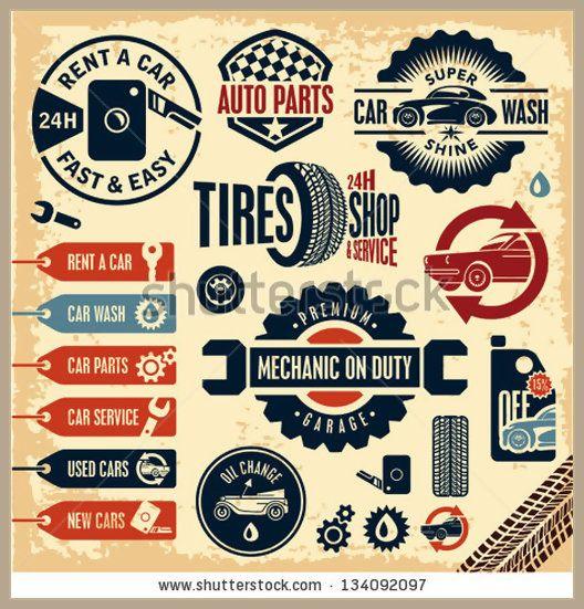 Car service icons Auto parts Rent a car Car wash Retro vintage car labels set