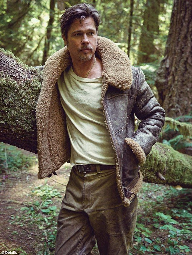 Outdoorsman: Brad Pitt posed in the Humboldt Redwoods National Park in Northern California for the November issue of Details Magazine