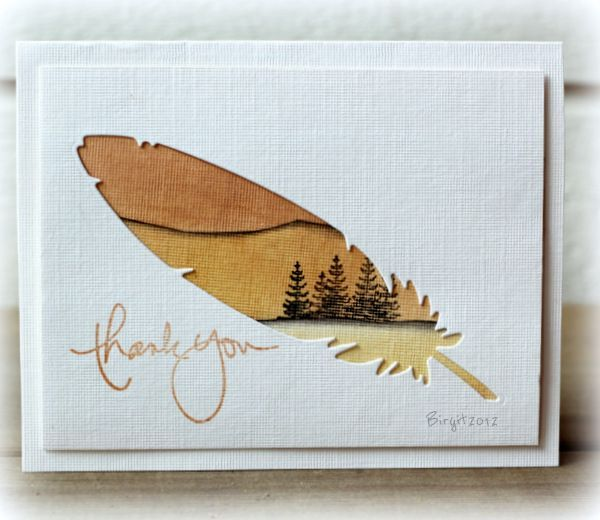 handmade card: Thank You by Biggan ... delightful scene stamped in honey tones inside negative die cut feather ...