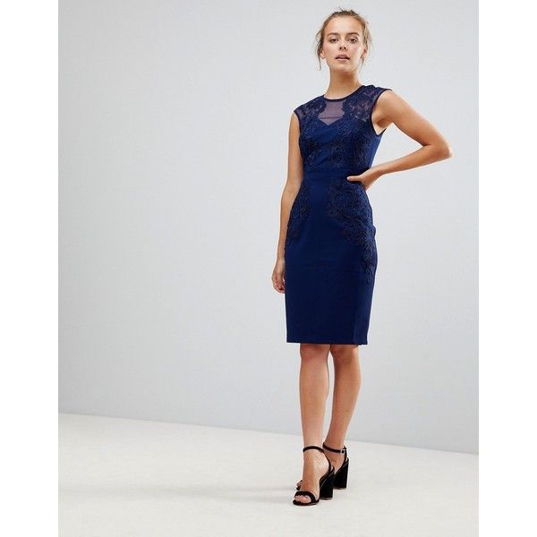 Little Mistress Pencil Dress With Lace & Mesh Panel (100 NZD) ❤ liked on Polyvore featuring dresses, navy, navy bodycon dress, lace pencil dress, navy blue cocktail dress, embroidered lace dress and navy cocktail dress